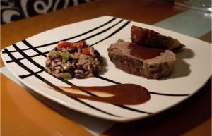 Receta de morcillo de Xata Roxa con chocolate y guayaba
